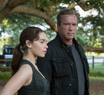 Left to right: Emilia Clarke plays Sarah Connor and Arnold Schwarzenegger plays the Terminator in Terminator Genisys from Paramount Pictures and Skydance Productions.
